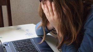 Bullying, Tangan, Wajah, Meringkuk, Nya, Gadis, Sedih